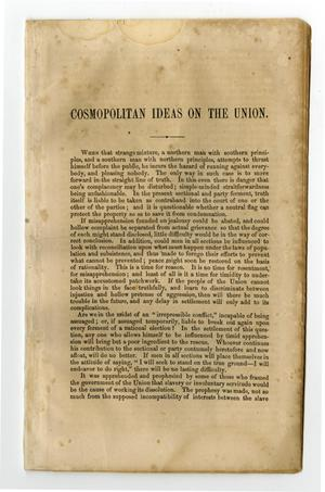 Primary view of object titled 'Cosmopolitan ideas on the Union ...'.