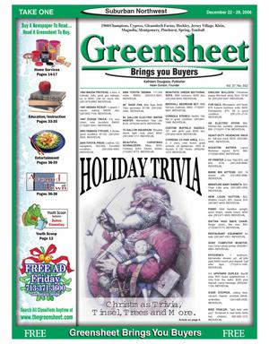 Primary view of object titled 'Greensheet (Houston, Tex.), Vol. 37, No. 552, Ed. 1 Friday, December 22, 2006'.