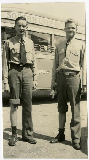 Primary view of object titled 'Two Men in Front of a Southwestern Bus, Forehead Paint and One Pant Leg Rolled Up on Both Men (1937)'.