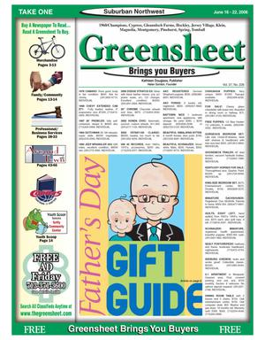 Primary view of object titled 'Greensheet (Houston, Tex.), Vol. 37, No. 228, Ed. 1 Friday, June 16, 2006'.