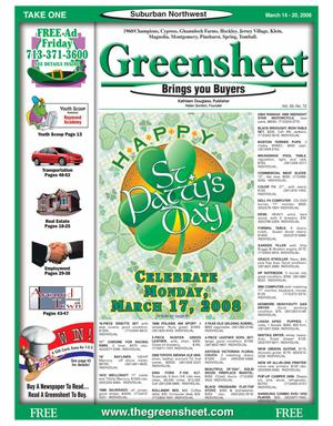 Primary view of object titled 'Greensheet (Houston, Tex.), Vol. 39, No. 72, Ed. 1 Friday, March 14, 2008'.
