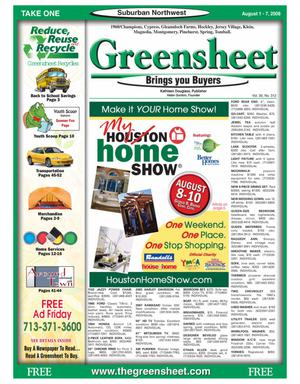 Primary view of object titled 'Greensheet (Houston, Tex.), Vol. 39, No. 312, Ed. 1 Friday, August 1, 2008'.