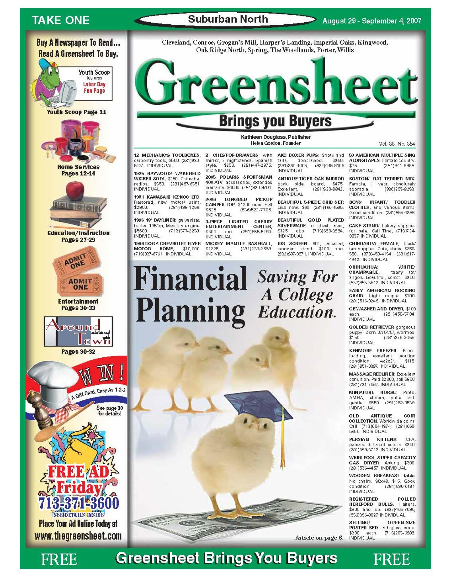Greensheet (Houston, Tex.), Vol. 38, No. 354, Ed. 1 Wednesday, August 29, 2007                                                                                                      [Sequence #]: 1 of 40