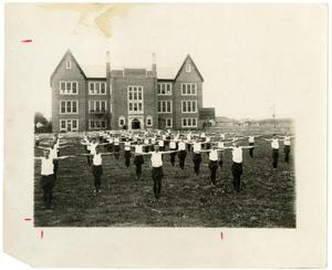 Primary view of object titled '1923-'24 Group Training Exercises in the Quad'.