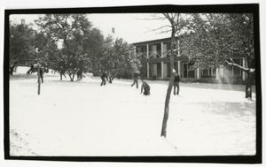 Primary view of object titled 'People Playing in Snow in Front of Flato Hall'.