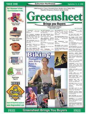 Primary view of object titled 'Greensheet (Houston, Tex.), Vol. 37, No. 384, Ed. 1 Friday, September 15, 2006'.