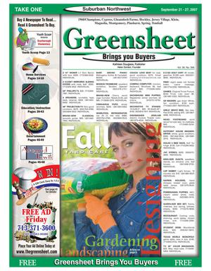 Primary view of object titled 'Greensheet (Houston, Tex.), Vol. 38, No. 396, Ed. 1 Friday, September 21, 2007'.