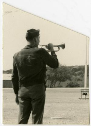 Primary view of object titled 'Man in Uniform Playing a Trumpet, 1934?'.