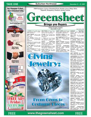 Primary view of object titled 'Greensheet (Houston, Tex.), Vol. 38, No. 552, Ed. 1 Friday, December 21, 2007'.