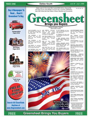 Primary view of object titled 'Greensheet (Dallas, Tex.), Vol. 29, No. 79, Ed. 1 Wednesday, June 29, 2005'.