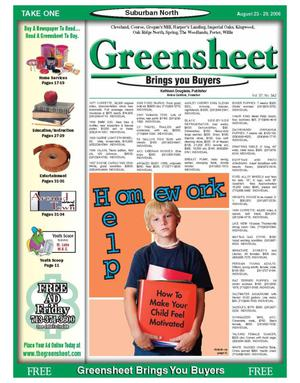 Primary view of object titled 'Greensheet (Houston, Tex.), Vol. 37, No. 342, Ed. 1 Wednesday, August 23, 2006'.