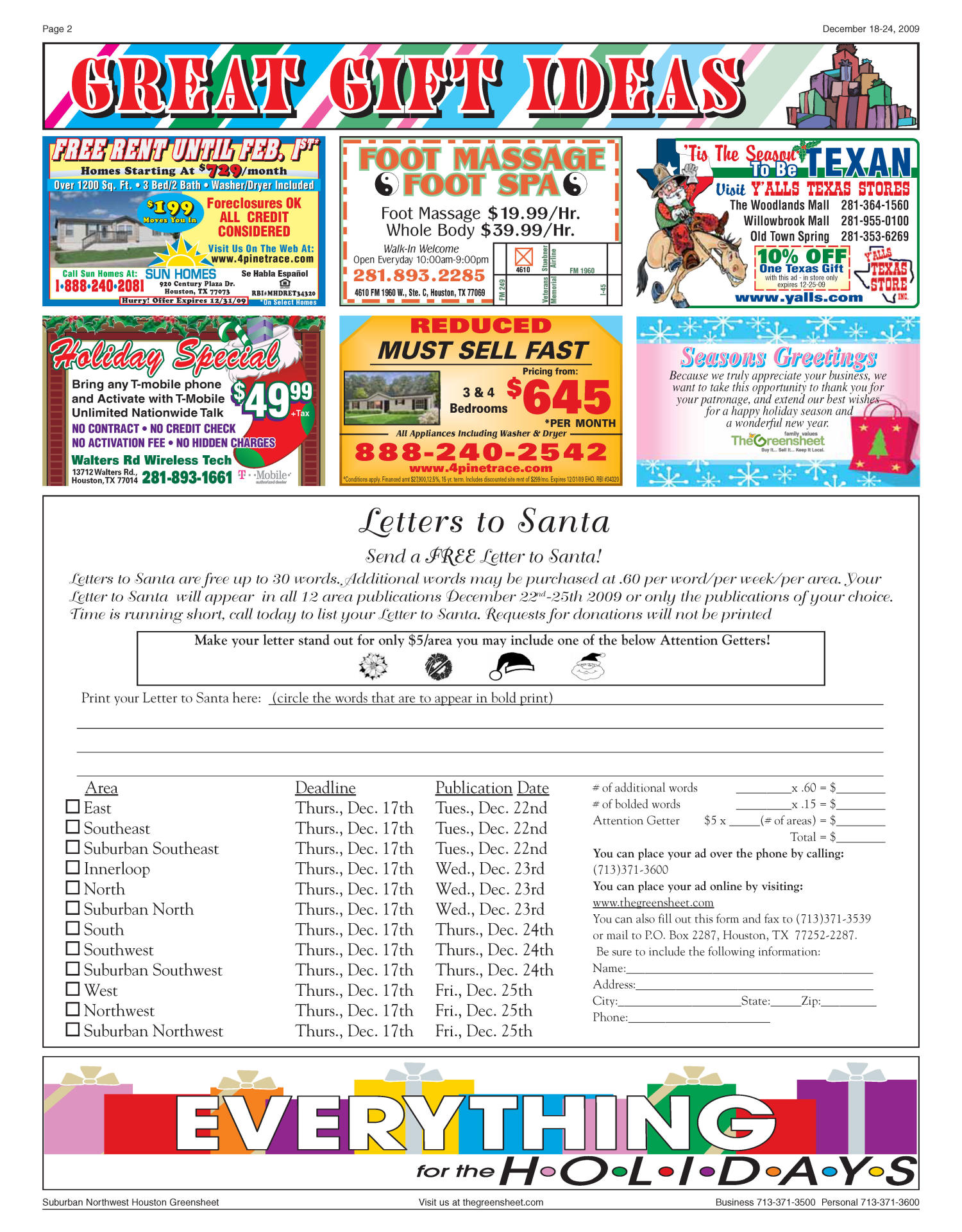 The Greensheet (Houston, Tex.), Vol. 40, No. 552, Ed. 1 Friday, December 18, 2009                                                                                                      [Sequence #]: 2 of 44
