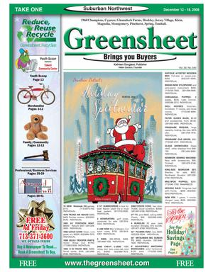 Primary view of object titled 'Greensheet (Houston, Tex.), Vol. 39, No. 540, Ed. 1 Friday, December 12, 2008'.