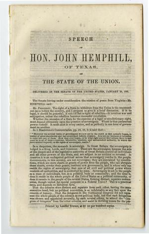 Primary view of object titled 'Speech of Hon. John Hemphill, of Texas, on the state of the union. Delivered in the Senate of the United States, January 28, 1861.'.