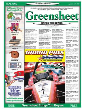 Primary view of object titled 'Greensheet (Houston, Tex.), Vol. 38, No. 126, Ed. 1 Wednesday, April 18, 2007'.