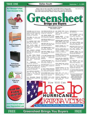 Primary view of object titled 'Greensheet (Dallas, Tex.), Vol. 29, No. 149, Ed. 1 Wednesday, September 7, 2005'.
