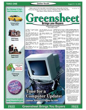 Primary view of object titled 'Greensheet (Dallas, Tex.), Vol. 29, No. 121, Ed. 1 Wednesday, August 10, 2005'.