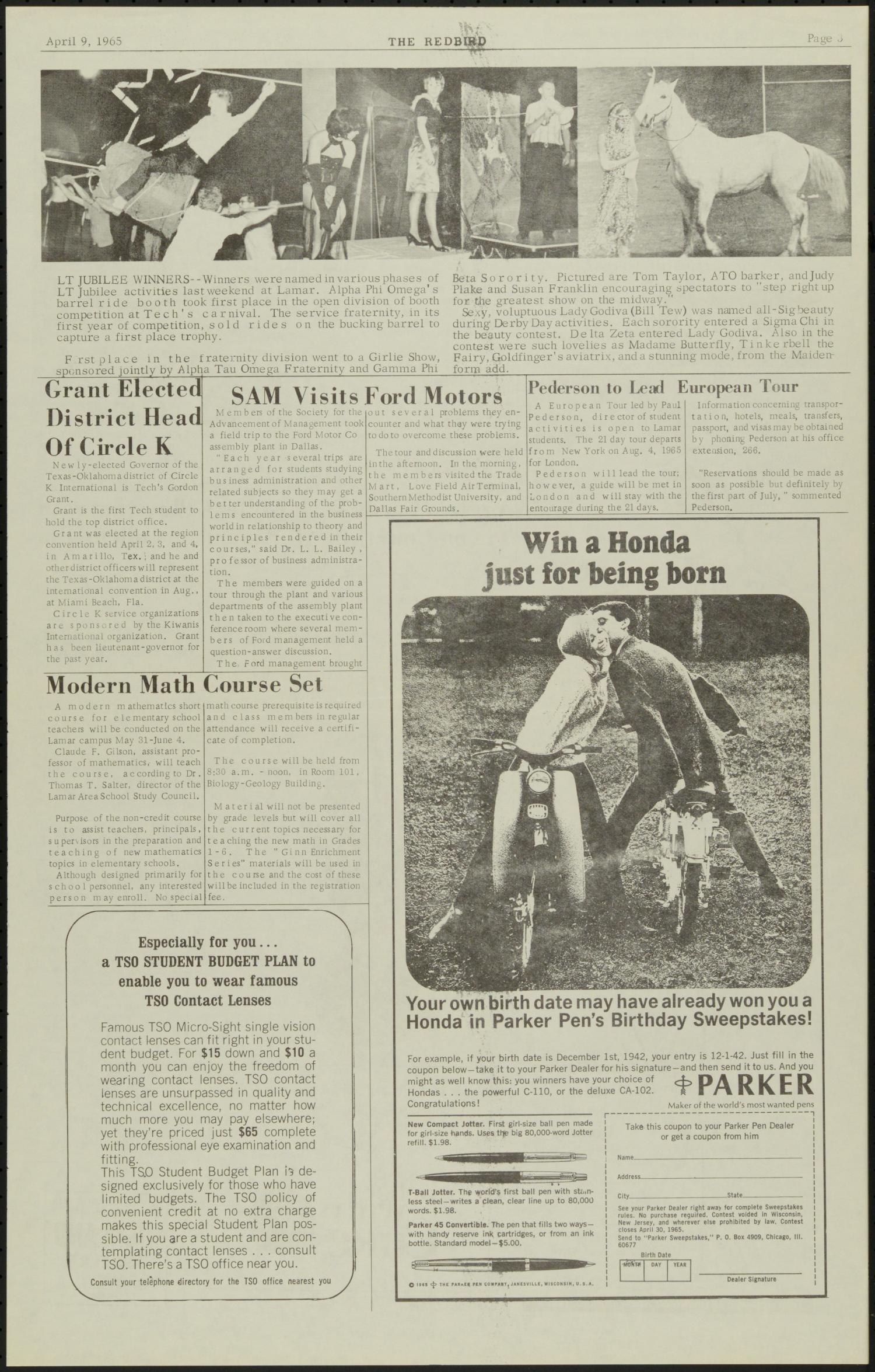 The Redbird (Beaumont, Tex.), Vol. 15, No. 21, Ed. 1 Friday, April 9, 1965                                                                                                      [Sequence #]: 3 of 6