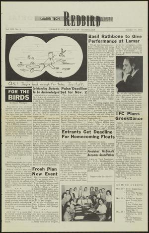 Primary view of Lamar Tech Redbird (Beaumont, Tex.), Vol. 13, No. 4, Ed. 1 Friday, October 19, 1962