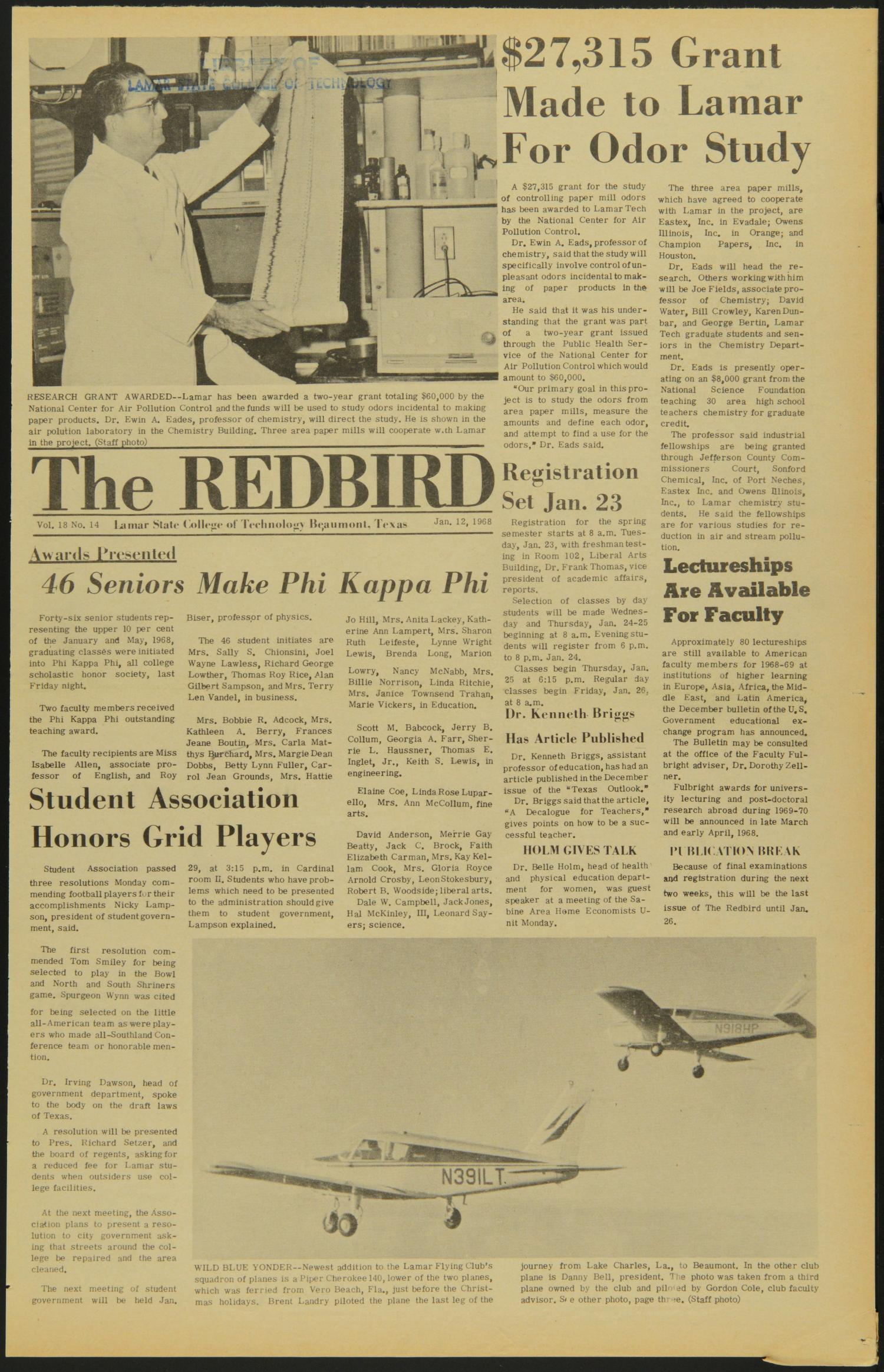 The Redbird (Beaumont, Tex.), Vol. 18, No. 14, Ed. 1 Friday, January 12, 1968                                                                                                      [Sequence #]: 1 of 8