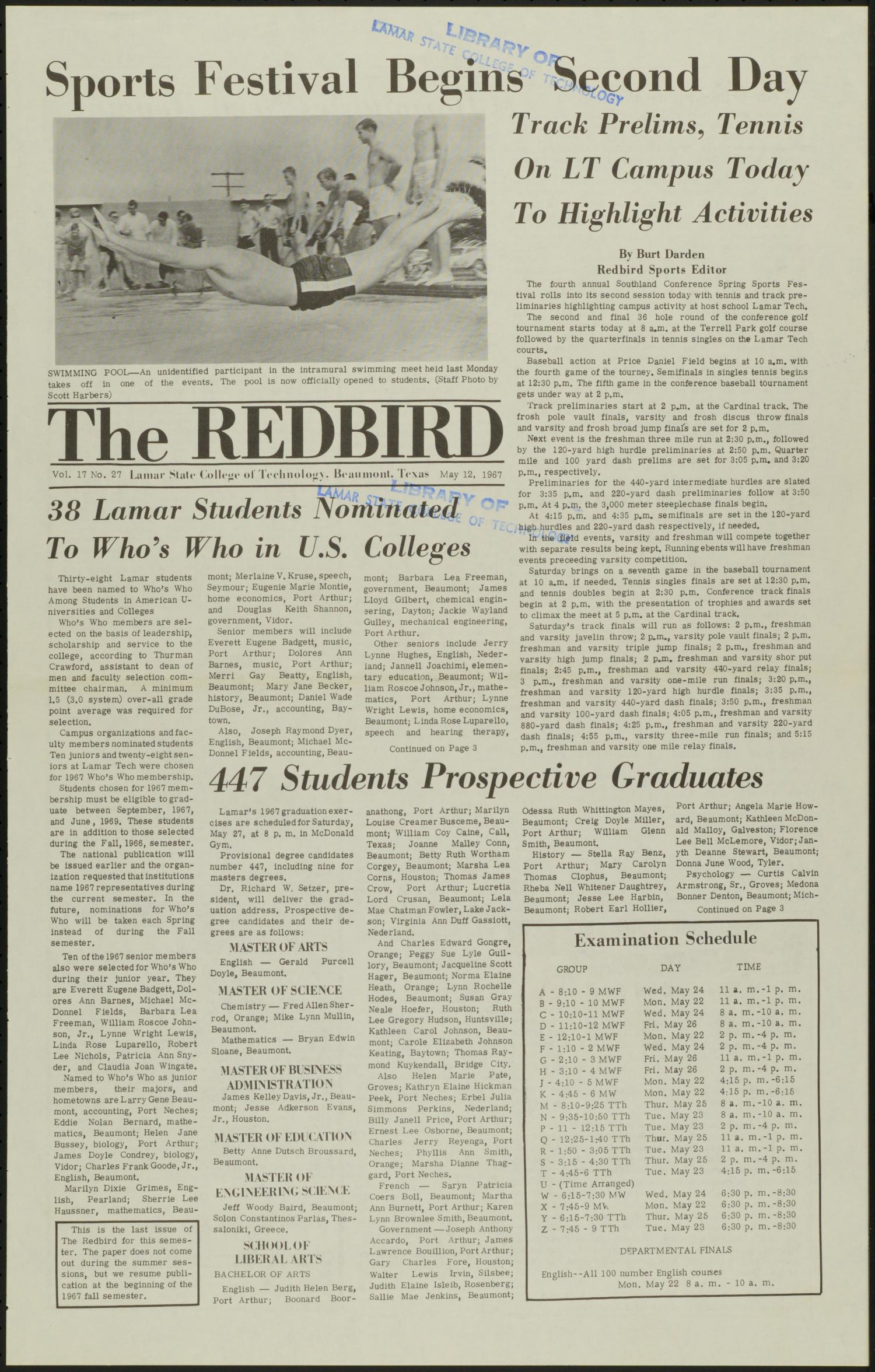 The Redbird (Beaumont, Tex.), Vol. 17, No. 27, Ed. 1 Friday, May 12, 1967                                                                                                      [Sequence #]: 1 of 8