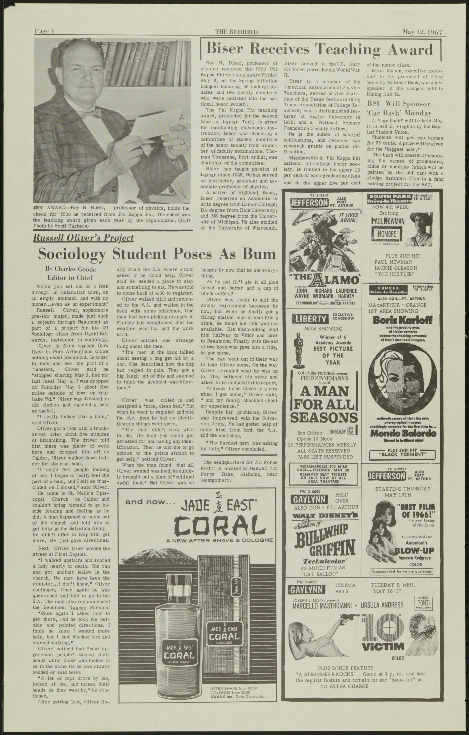 The Redbird (Beaumont, Tex.), Vol. 17, No. 27, Ed. 1 Friday, May 12, 1967                                                                                                      [Sequence #]: 4 of 8