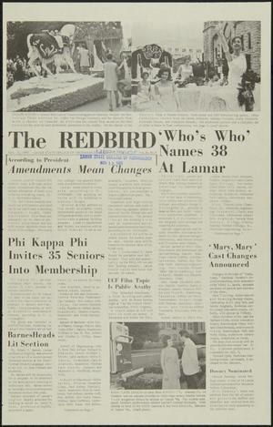 Primary view of object titled 'The Redbird (Beaumont, Tex.), Vol. 16, No. 9, Ed. 1 Friday, November 12, 1965'.