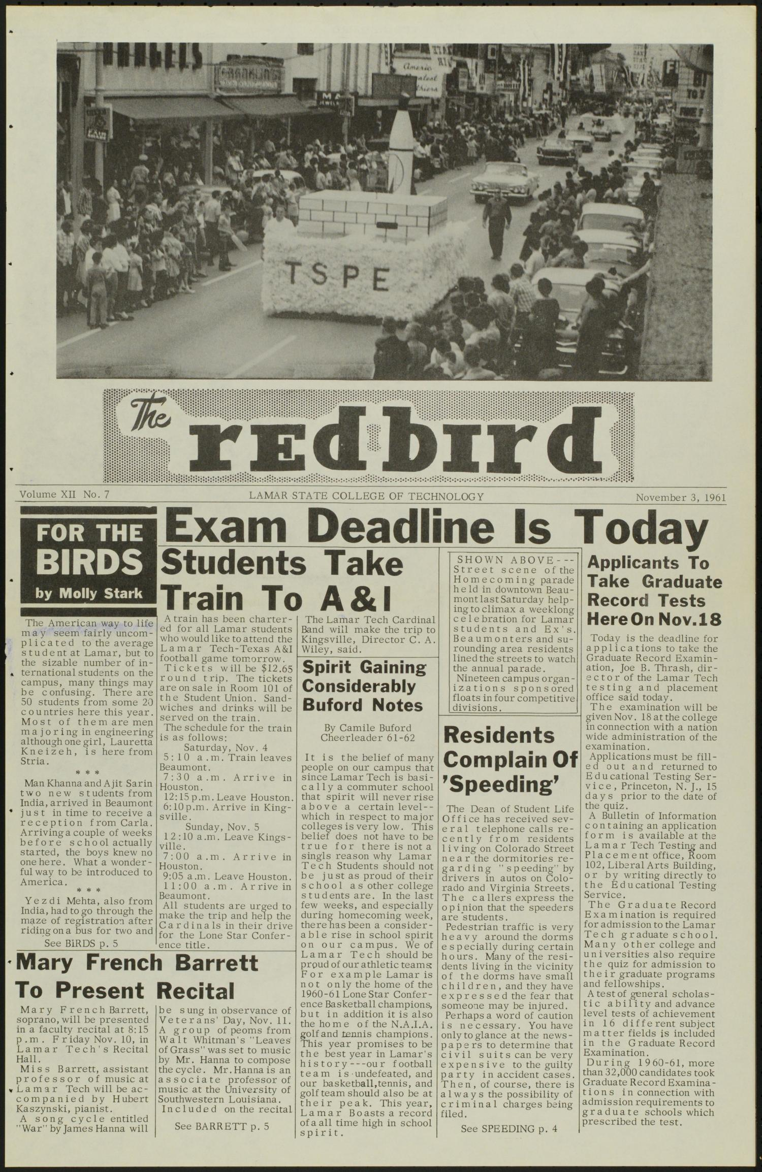The Redbird (Beaumont, Tex.), Vol. 12, No. 7, Ed. 1 Friday, November 3, 1961                                                                                                      [Sequence #]: 1 of 8