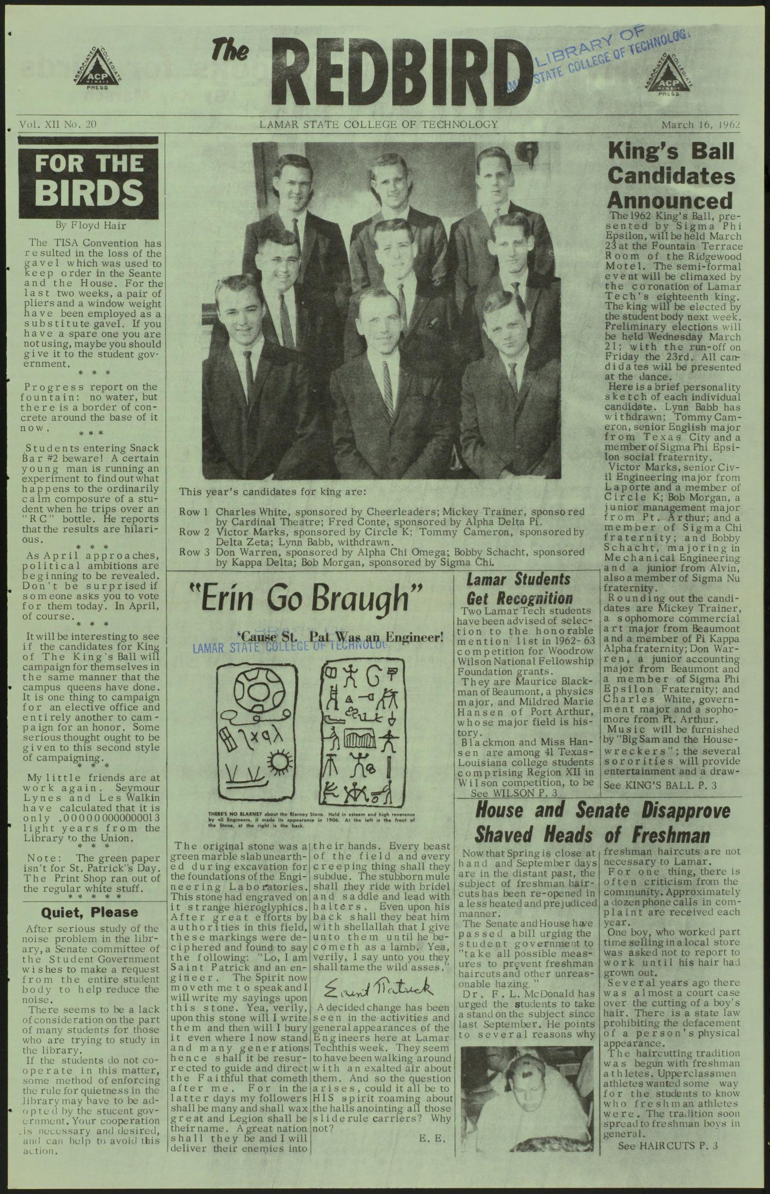 The Redbird (Beaumont, Tex.), Vol. 12, No. 20, Ed. 1 Friday, March 16, 1962                                                                                                      [Sequence #]: 1 of 8