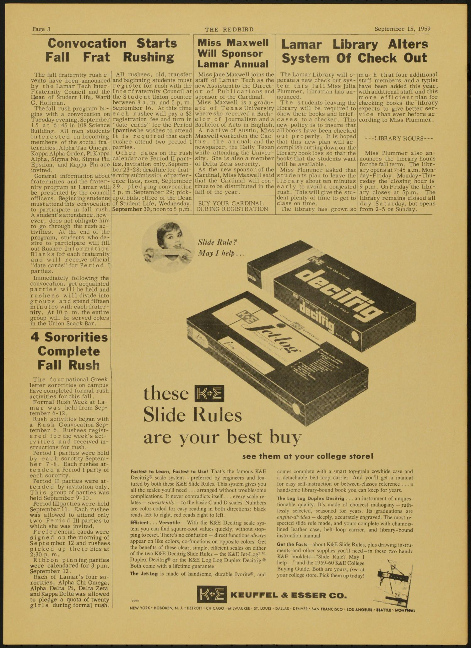 The Redbird (Beaumont, Tex.), Vol. 9, No. 1, Ed. 1 Tuesday, September 15, 1959                                                                                                      [Sequence #]: 3 of 4