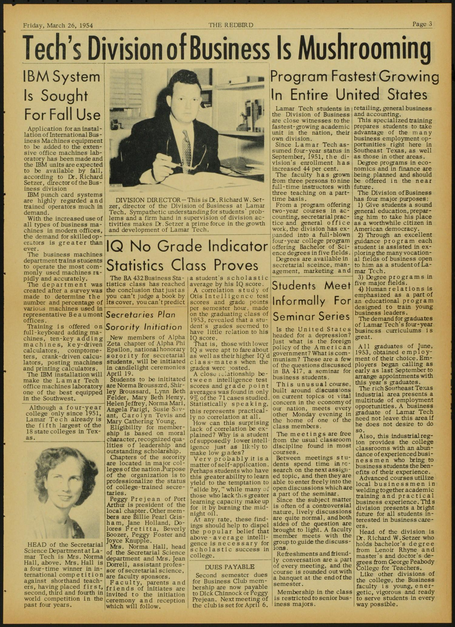 The Redbird (Beaumont, Tex.), Vol. 3, No. 21, Ed. 1 Friday, March 26, 1954                                                                                                      [Sequence #]: 3 of 8
