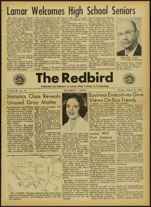 Primary view of object titled 'The Redbird (Beaumont, Tex.), Vol. 3, No. 19, Ed. 1 Friday, March 12, 1954'.