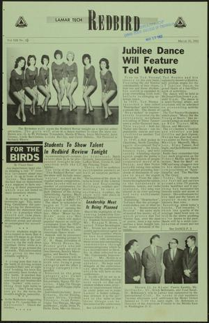 Primary view of object titled 'Lamar Tech Redbird (Beaumont, Tex.), Vol. 13, No. 22, Ed. 1 Friday, March 30, 1962'.