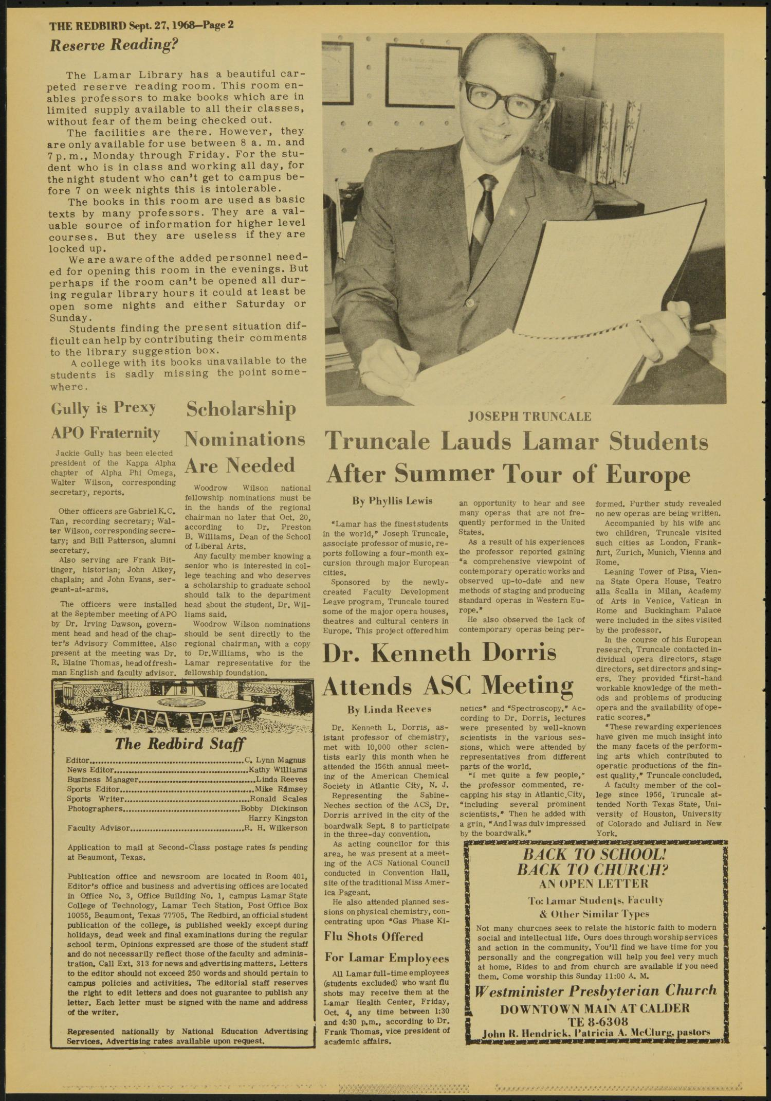 The Redbird (Beaumont, Tex.), Vol. 19, No. 2, Ed. 1 Friday, September 27, 1968                                                                                                      [Sequence #]: 2 of 8