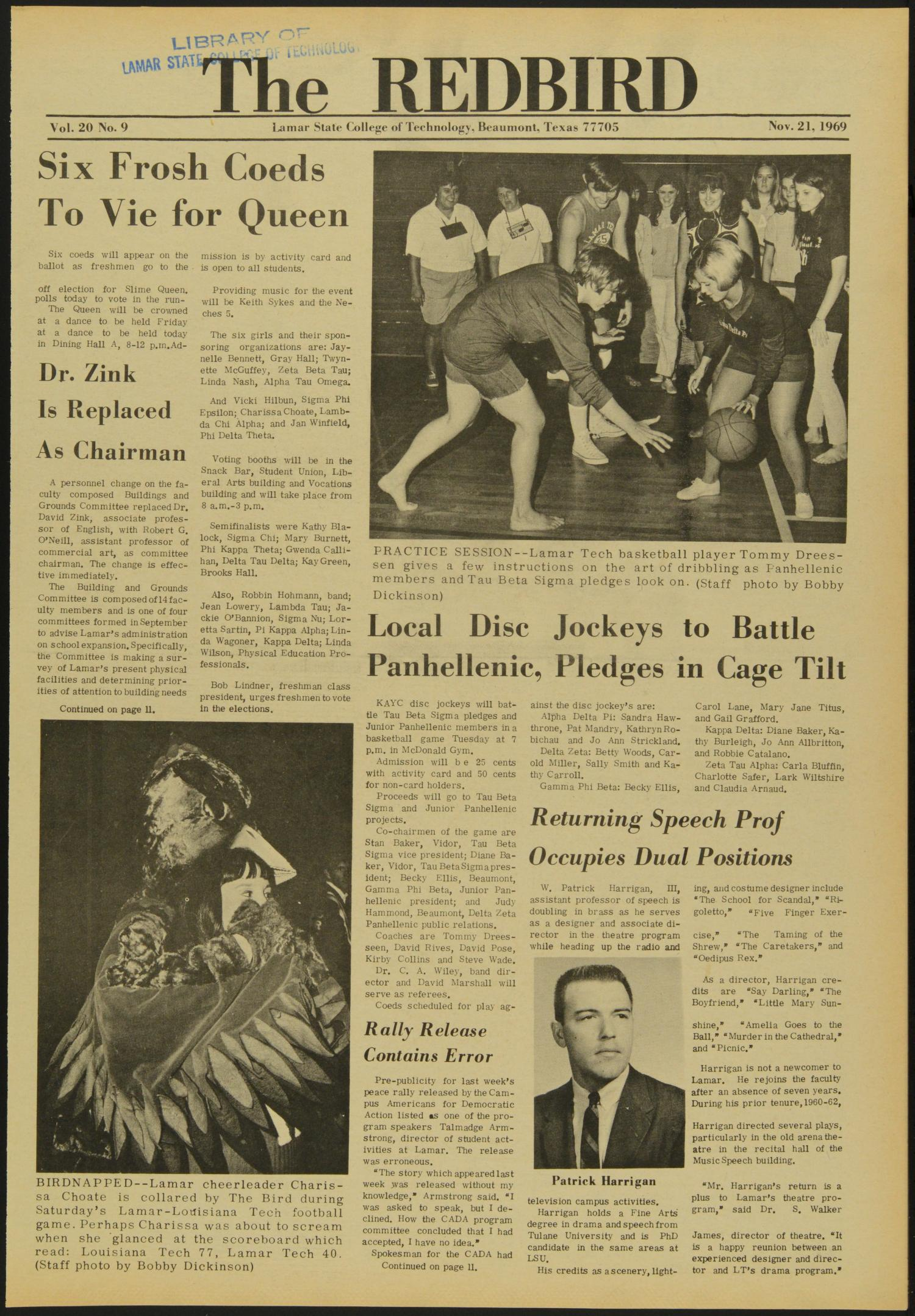 The Redbird (Beaumont, Tex.), Vol. 20, No. 9, Ed. 1 Friday, November 21, 1969                                                                                                      [Sequence #]: 1 of 12