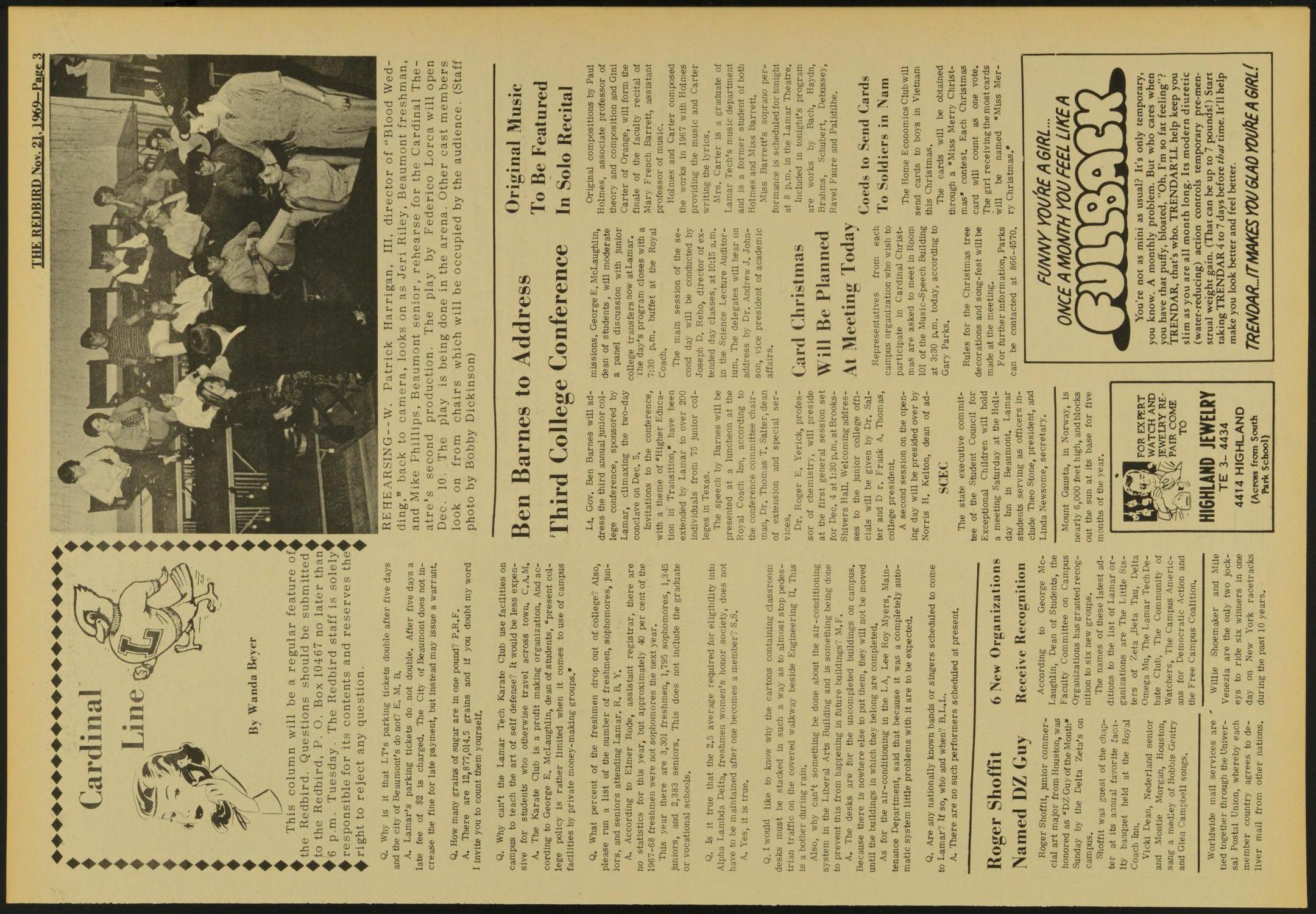 The Redbird (Beaumont, Tex.), Vol. 20, No. 9, Ed. 1 Friday, November 21, 1969                                                                                                      [Sequence #]: 3 of 12