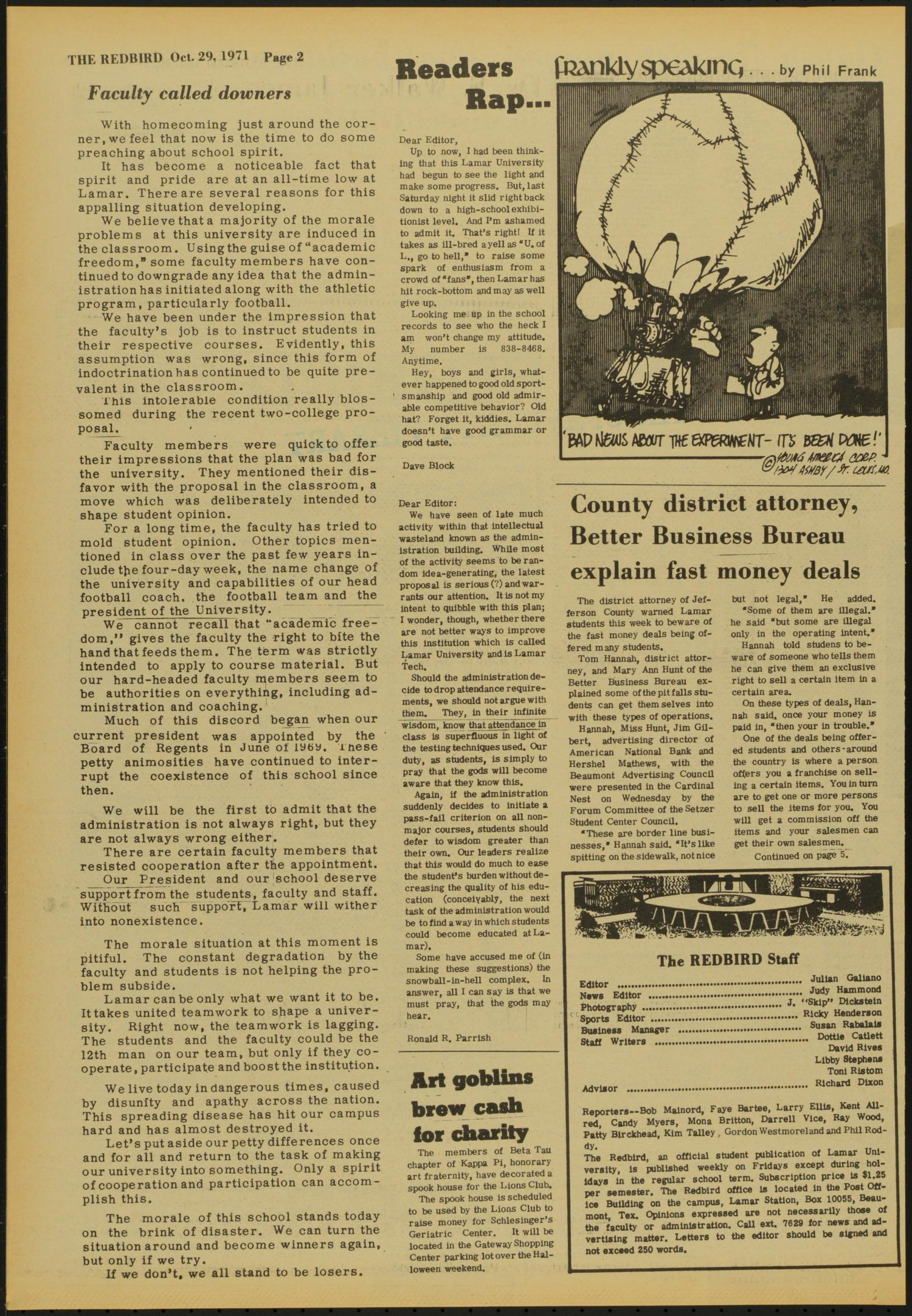 The Redbird (Beaumont, Tex.), Vol. 22, No. 8, Ed. 1 Friday, October 29, 1971                                                                                                      [Sequence #]: 2 of 12