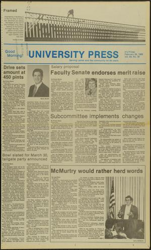 Primary view of object titled 'University Press (Beaumont, Tex.), Vol. 64, No. 30, Ed. 1 Friday, February 26, 1988'.