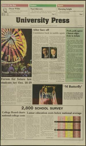 Primary view of object titled 'University Press (Beaumont, Tex.), Vol. 73, No. 11, Ed. 1 Wednesday, October 9, 1996'.