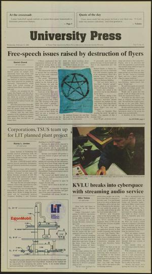 Primary view of object titled 'University Press (Beaumont, Tex.), Vol. 77, No. 32, Ed. 1 Wednesday, February 21, 2001'.