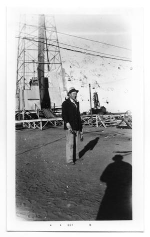 Primary view of object titled 'Joe Hathaway Poses by Rig'.