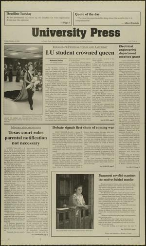Primary view of object titled 'University Press (Beaumont, Tex.), Vol. 77, No. 9, Ed. 1 Friday, October 6, 2000'.