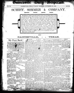 Primary view of object titled 'Gainesville Daily Hesperian. (Gainesville, Tex.), Vol. 9, No. 306, Ed. 1 Tuesday, November 20, 1888'.