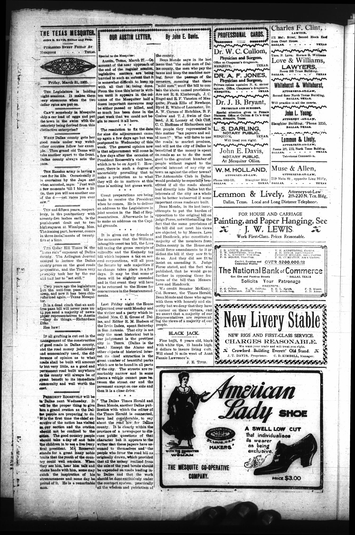 The Texas Mesquiter. (Mesquite, Tex.), Vol. 23, No. 40, Ed. 1 Friday, March 31, 1905                                                                                                      [Sequence #]: 4 of 8