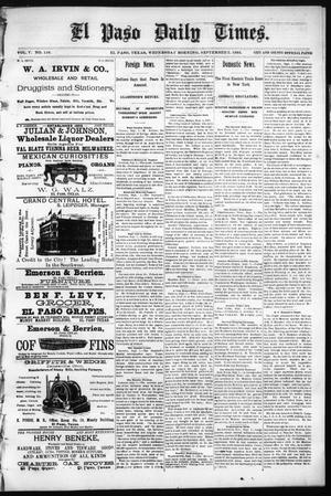 Primary view of object titled 'El Paso Daily Times. (El Paso, Tex.), Vol. 5, No. 116, Ed. 1 Wednesday, September 2, 1885'.