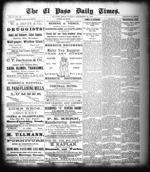 Primary view of object titled 'The El Paso Daily Times. (El Paso, Tex.), Vol. 2, No. 180, Ed. 1 Sunday, September 30, 1883'.