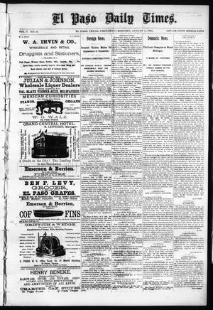Primary view of object titled 'El Paso Daily Times. (El Paso, Tex.), Vol. 5, No. 91, Ed. 1 Wednesday, August 5, 1885'.