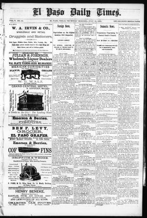 Primary view of object titled 'El Paso Daily Times. (El Paso, Tex.), Vol. 5, No. 86, Ed. 1 Thursday, July 30, 1885'.