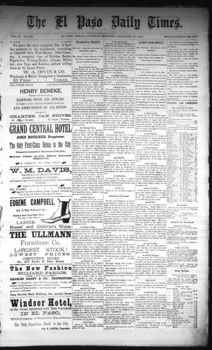 Primary view of object titled 'The El Paso Daily Times. (El Paso, Tex.), Vol. 3, No. 220, Ed. 1 Saturday, December 27, 1884'.