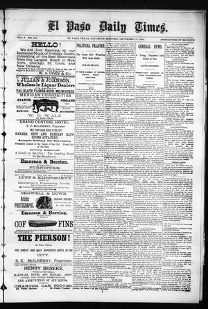 Primary view of object titled 'El Paso Daily Times. (El Paso, Tex.), Vol. 5, No. 195, Ed. 1 Saturday, December 19, 1885'.